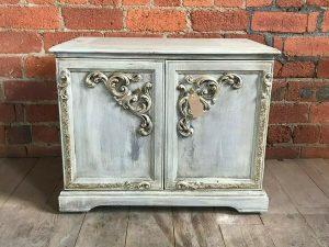 vintage light blue cupboard